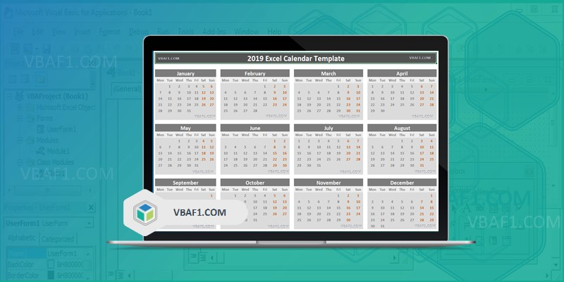 2019 Excel Calendar