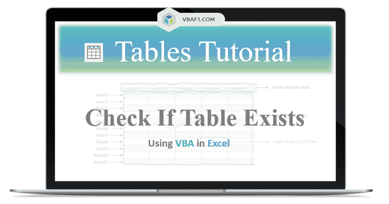 VBA Check if table Exists