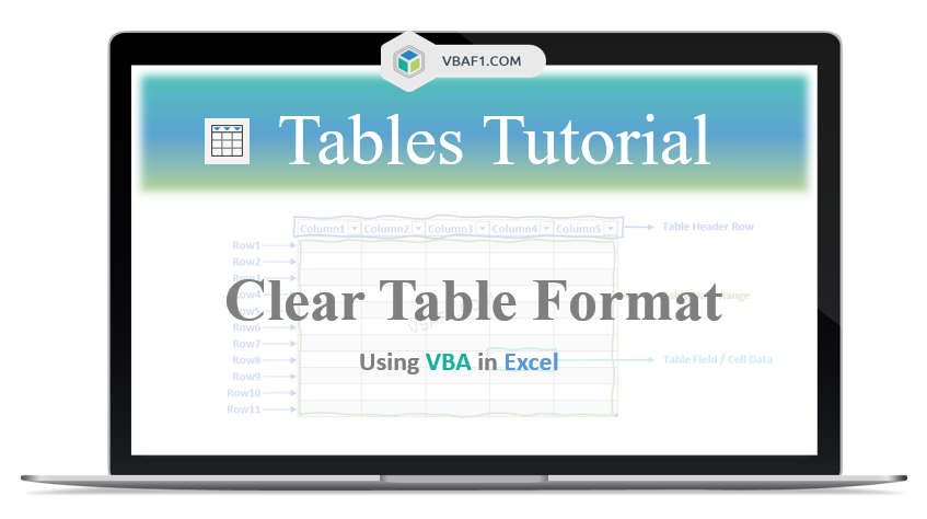 VBA Clear Table Format