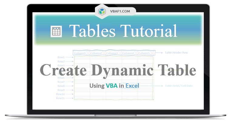 VBA Create Dynamic Table