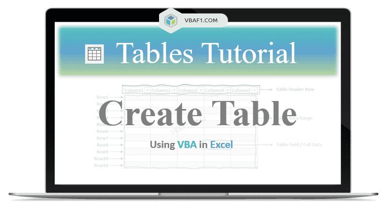 VBA Create Table in Excel