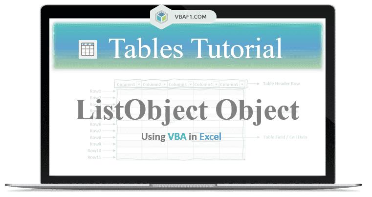 VBA ListObject Object in Excel